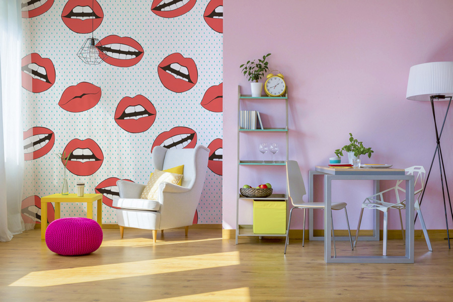 tapeta do pokoju wzór w usta