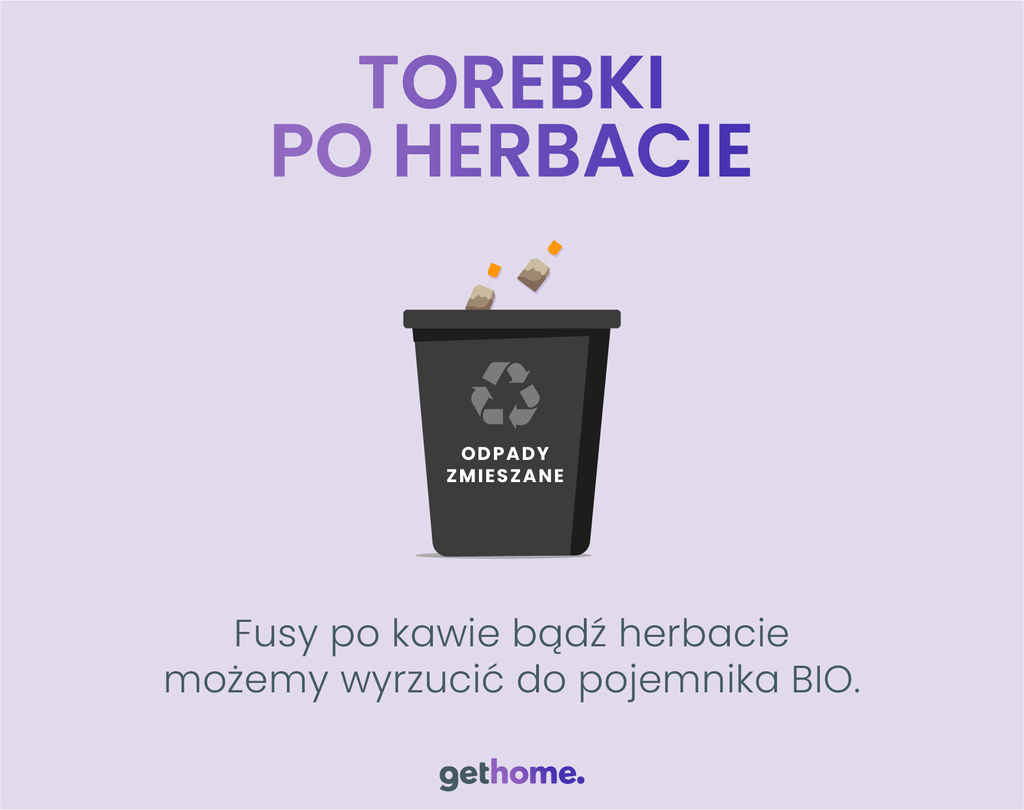 gdzie wyrzucać torebkę po herbacie? do jakiego pojemnika